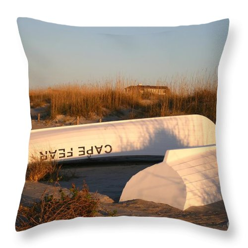 Boats Throw Pillow featuring the photograph Cape Fear Boats by Nadine Rippelmeyer