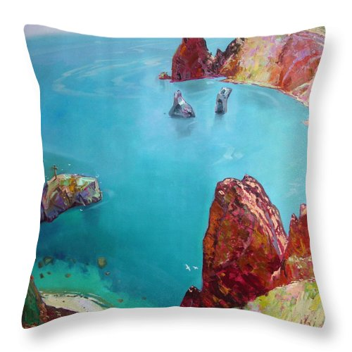 Ignatenko Throw Pillow featuring the painting Cape Fiolent by Sergey Ignatenko