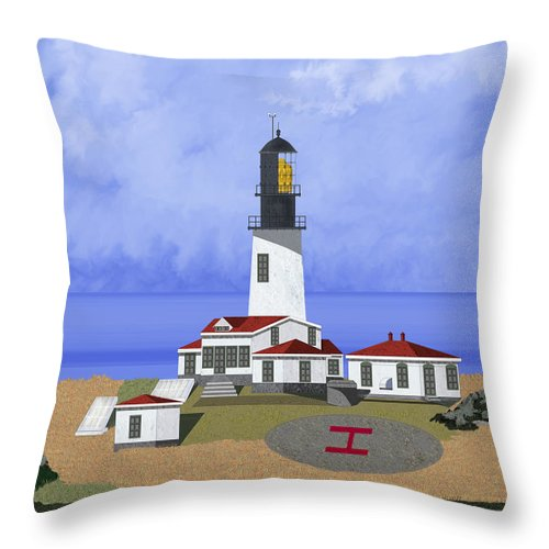 Seascape Throw Pillow featuring the painting Cape Flattery Lighthouse On Tatoosh Island by Anne Norskog