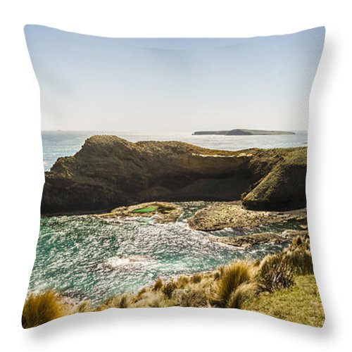 Tasmania Throw Pillow featuring the photograph Cape Grim Cliff Panoramic by Jorgo Photography - Wall Art Gallery