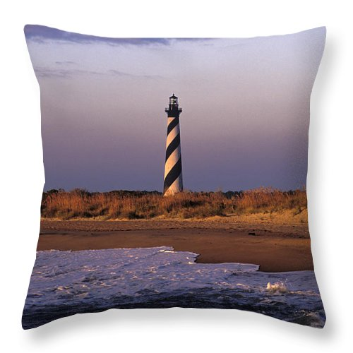 Hatteras Throw Pillow featuring the photograph Cape Hatteras Lighthouse At Sunrise - Fs000606 by Daniel Dempster
