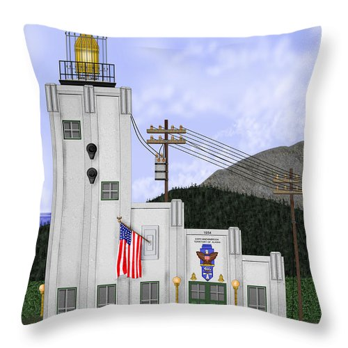 Cape Hinchinbrook Alaska Throw Pillow featuring the painting Cape Hinchinbrook Lighthouse In Alaska by Anne Norskog