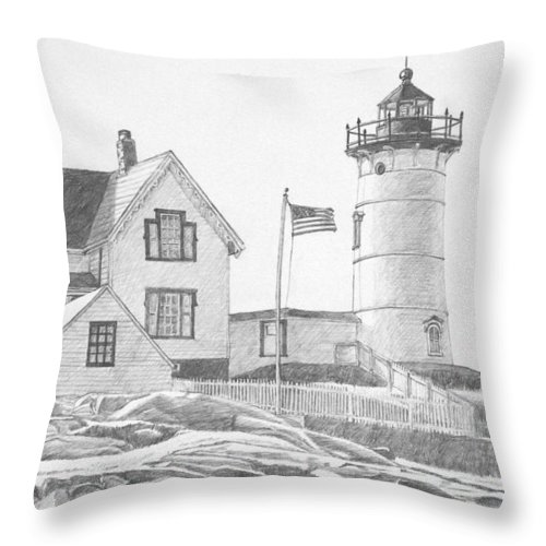 Lighthouse Throw Pillow featuring the drawing Cape Neddick Light House Drawing by Dominic White