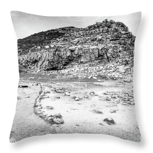 Landscape Throw Pillow featuring the photograph Cape Of Good Hope Landscape Black And White by Tim Hester