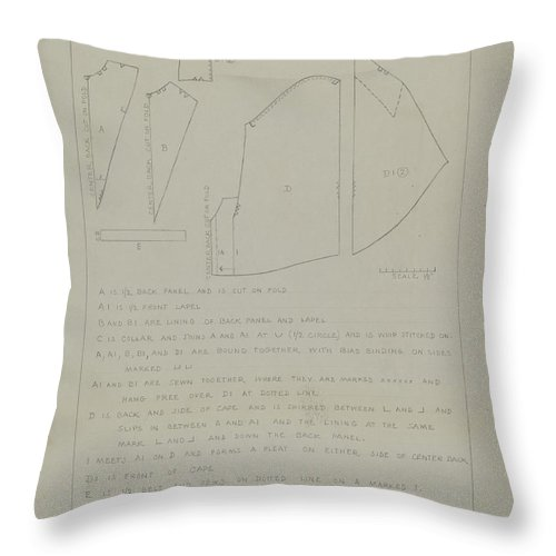 Throw Pillow featuring the drawing Cape (pattern) by Charles Criswell