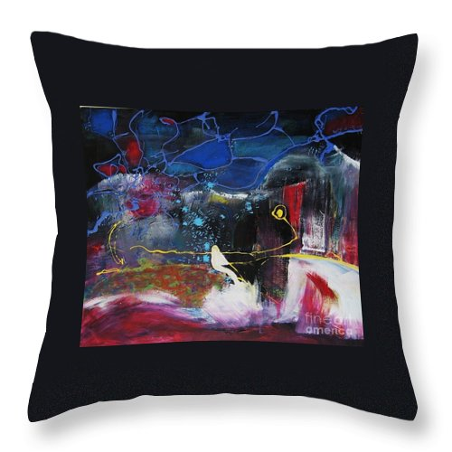 Abstract Throw Pillow featuring the painting Cape Spear by Seon-Jeong Kim