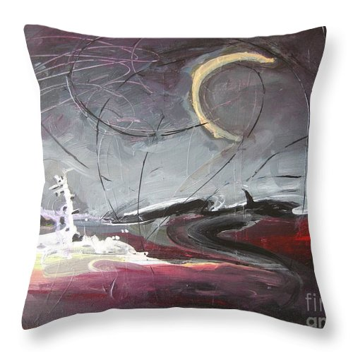Abstract Paintings Throw Pillow featuring the painting Cape St. Mary by Seon-Jeong Kim