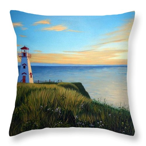 Landscape Throw Pillow featuring the painting Cape Tryon Lighthouse by Rick Gallant