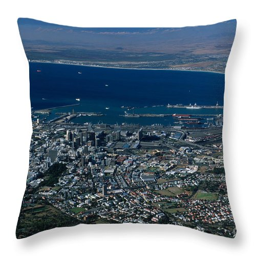 Capetown Throw Pillow featuring the photograph Capetown South Africa Aerial by Sandra Bronstein