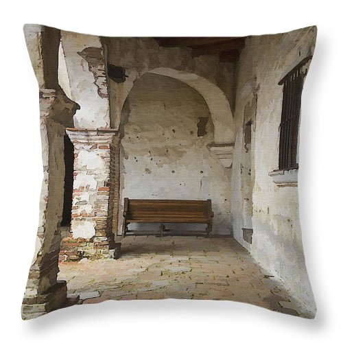 Mission Throw Pillow featuring the photograph Capistrano Bench by Sharon Foster