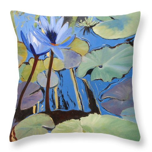 Lillies Throw Pillow featuring the painting Capistrano Lillies by Barbara Andolsek