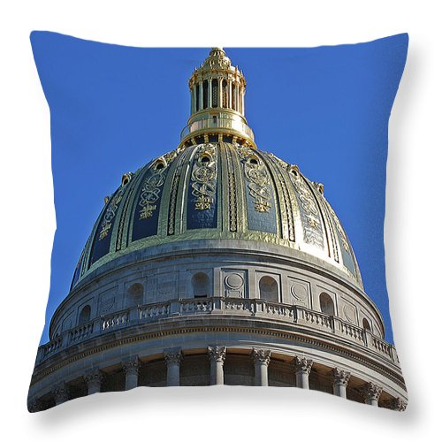 State Capitol Throw Pillow featuring the digital art Capitol Dome Charleston Wv by DigiArt Diaries by Vicky B Fuller