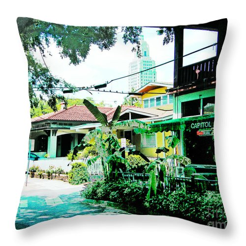 Spanish Town Throw Pillow featuring the digital art Capitol Grocery Spanish Town Baton Rouge by Lizi Beard-Ward