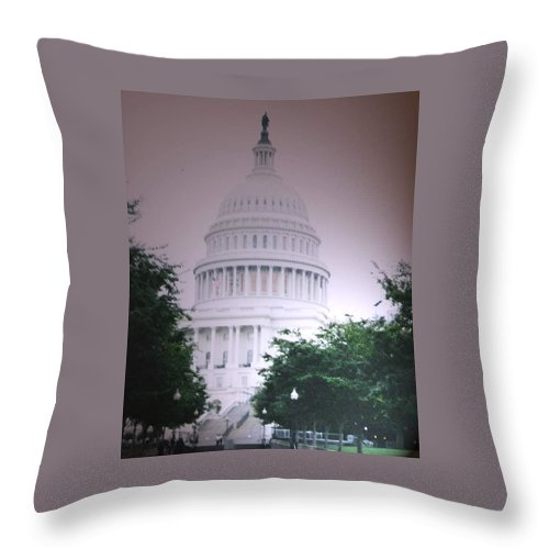 Capitol Throw Pillow featuring the photograph Capitol In Pink by Pharris Art