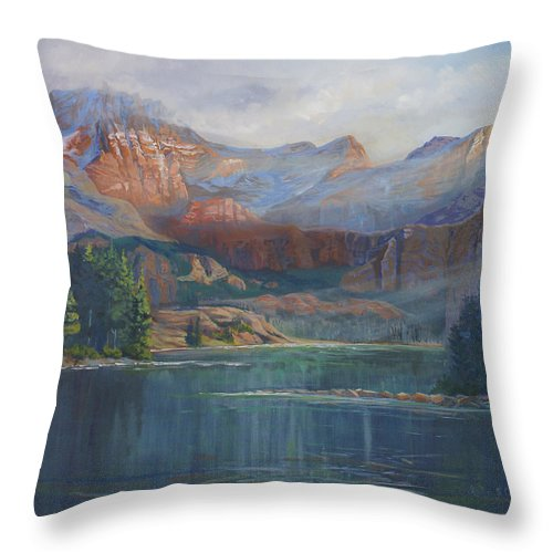 Capital Peak Throw Pillow featuring the painting Capitol Peak Rocky Mountains by Heather Coen