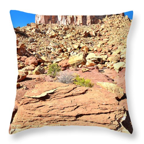 Capitol Reef National Park Throw Pillow featuring the photograph Capitol Reef Castle by Ray Mathis