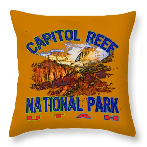 Capitol Reef National Park Throw Pillow featuring the digital art Capitol Reef National Park Utah by David G Paul