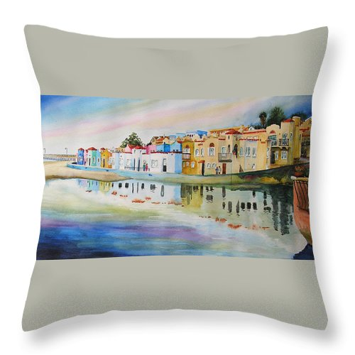 Capitola Throw Pillow featuring the painting Capitola by Karen Stark