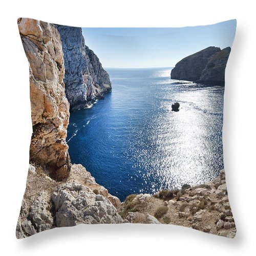 Cliffs Throw Pillow featuring the photograph Capo Caccia by Robert Lacy