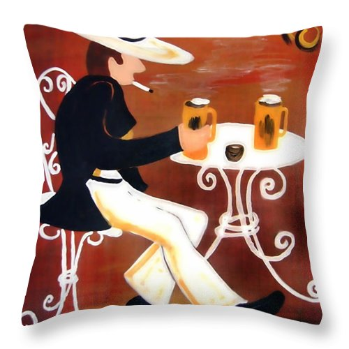 Cappuccino Throw Pillow featuring the painting Cappuccino by Helmut Rottler