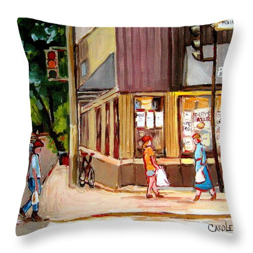 Cafes Throw Pillow featuring the painting Cappucino Cafe At Beauty's Restaurant by Carole Spandau