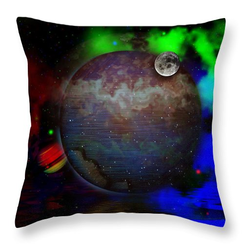 Space Throw Pillow featuring the digital art Caprica Over The Waters by Mario Carini