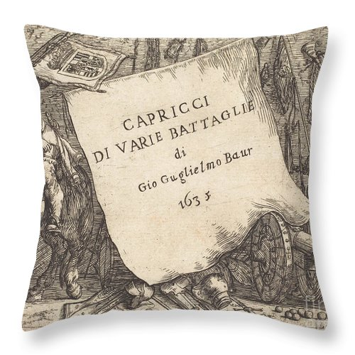 Throw Pillow featuring the drawing Capricci Di Varie Battaglie (title Page) by Johann Wilhelm Baur