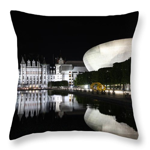City Throw Pillow featuring the photograph Captial Reflection by Paul Tokarchuk