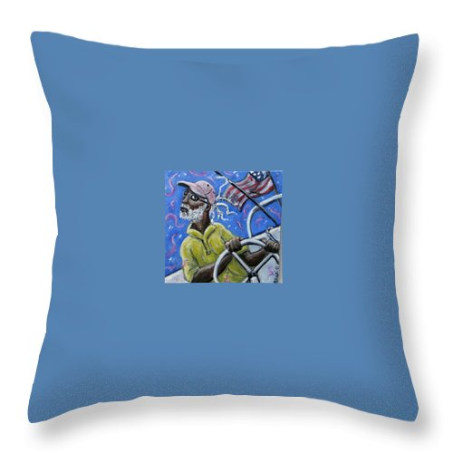Sailor Sail Boat Black Man Flag Cape Cod Throw Pillow featuring the painting Captin Percy by Jason Gluskin