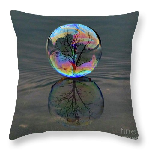 Bubble Throw Pillow featuring the photograph Captured by September Stone