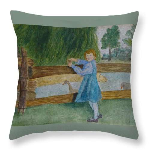 Throw Pillow featuring the painting Cara by Peggy King