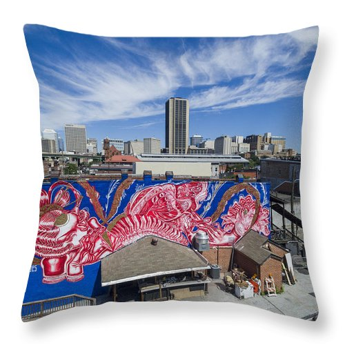 Rmp Throw Pillow featuring the photograph Caratoes Richmond Mural Project by Creative Dog Media