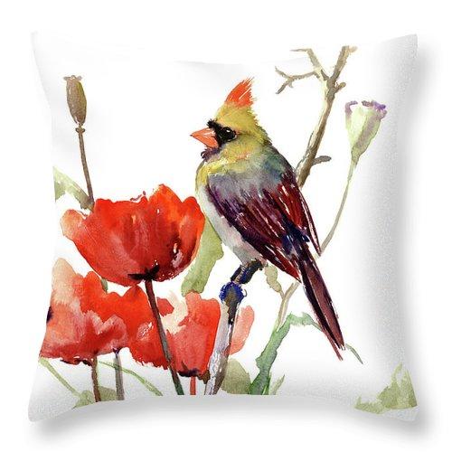 Cardinal Bird And Poppy Flowers Throw Pillow For Sale By Suren Nersisyan