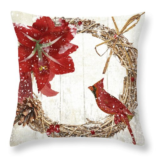 Cardinal Throw Pillow featuring the painting Cardinal Holiday II by Mindy Sommers