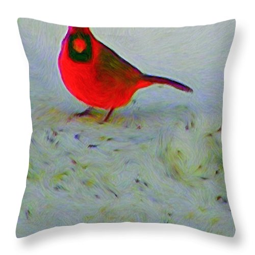 Cardinal Throw Pillow featuring the painting Cardinal In Winter by Kenneth Krolikowski