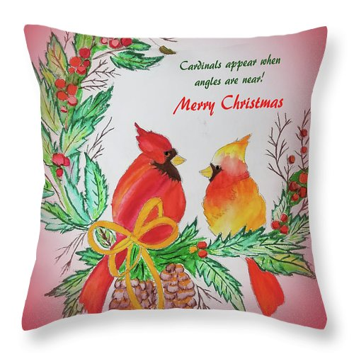 Throw Pillow featuring the painting Cardinals Painted By Pat Napper by Pat Napper