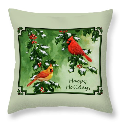 Birds Throw Pillow featuring the painting Cardinals Holiday Card - Version With Snow by Crista Forest