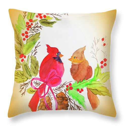 Throw Pillow featuring the painting Cardinals Painted By Linda Sue by Linda Sue Bruton