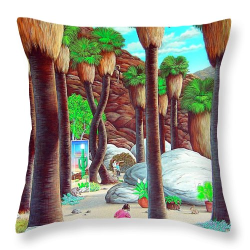 Canyon Throw Pillow featuring the painting Caretaker by Snake Jagger