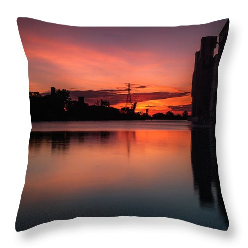 Cargill Superior Throw Pillow featuring the photograph Cargill Superior Twilight No 1 by Chris Bordeleau