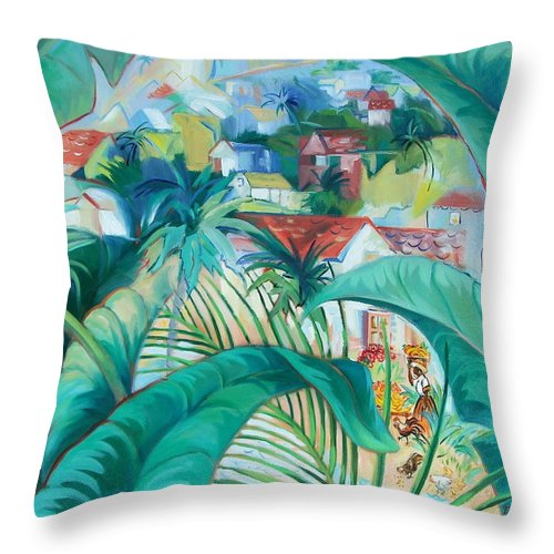 Caribbean Figures Throw Pillow featuring the painting Caribbean Fantasy by Dianna Willman