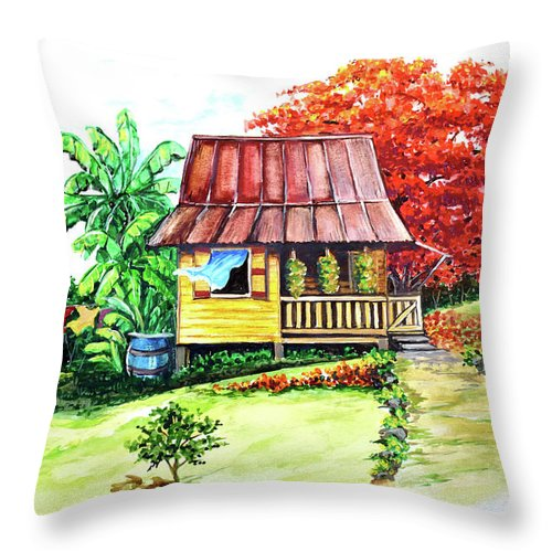 Old House Throw Pillow featuring the painting Caribbean House On The Hill by Karin Dawn Kelshall- Best