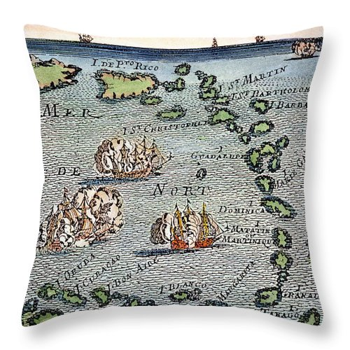 1688 Throw Pillow featuring the photograph Caribbean Map by Granger