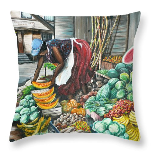 Caribbean Painting Market Vendor Painting Caribbean Market Painting Fruit Painting Vegetable Painting Woman Painting Tropical Painting City Scape Trinidad And Tobago Painting Typical Roadside Market Vendor In Trinidad Throw Pillow featuring the painting Caribbean Market Day by Karin Dawn Kelshall- Best