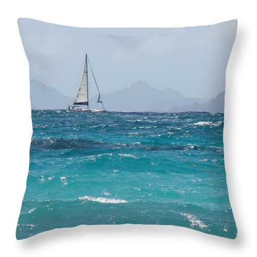 Landscape Throw Pillow featuring the photograph Caribbean Sailing by Margaret Bobb