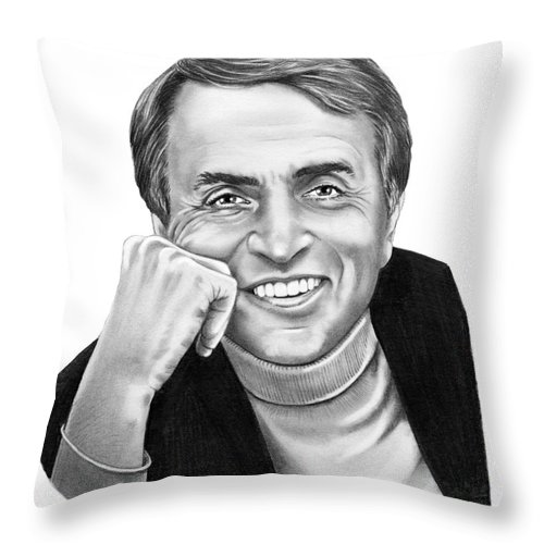 Pencil Throw Pillow featuring the drawing Carl Sagan by Murphy Elliott