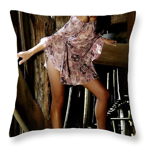 Clay Throw Pillow featuring the photograph Carla's In The Barn Again by Clayton Bruster