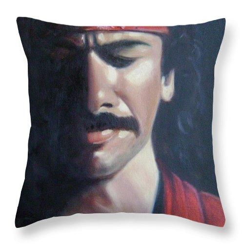 Santana Throw Pillow featuring the painting Carlos Santana by Toni Berry