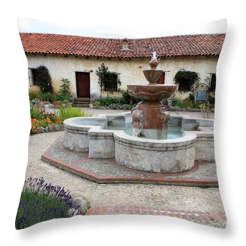 Catholic Throw Pillow featuring the photograph Carmel Mission Courtyard by Carol Groenen