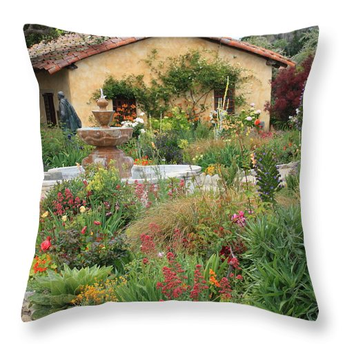 Carmel Mission Courtyard Throw Pillow featuring the photograph Carmel Mission Courtyard Garden by Carol Groenen
